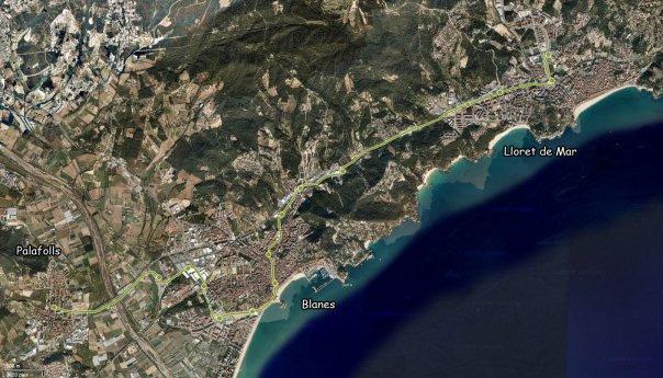 Mapa del recorregut del projecte de tramvia entre Palafolls i Lloret de Mar