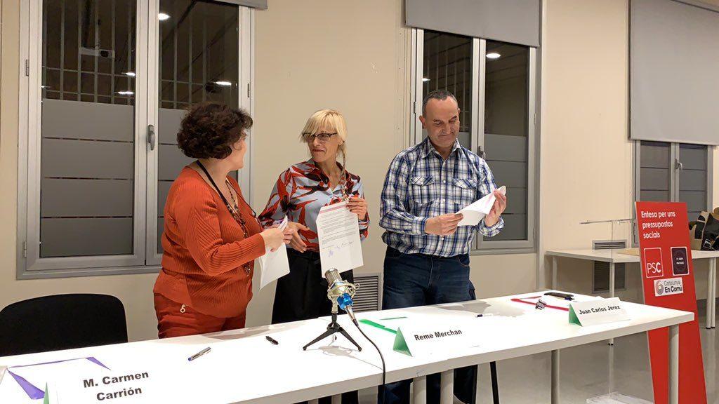PSC i Comuns signen un acord per aprovar els pressupostos de Mataró. Foto: ICV