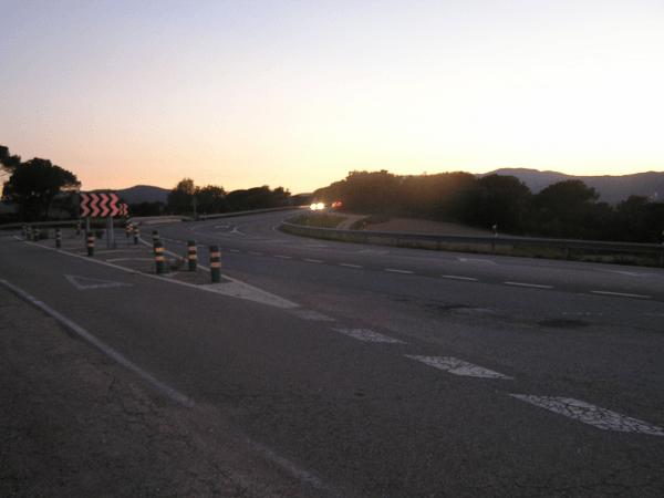Carretera N-II al seu pas per Tordera