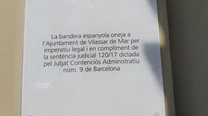 Cartell bandera espanyola Ajuntament de Vilassar de Mar