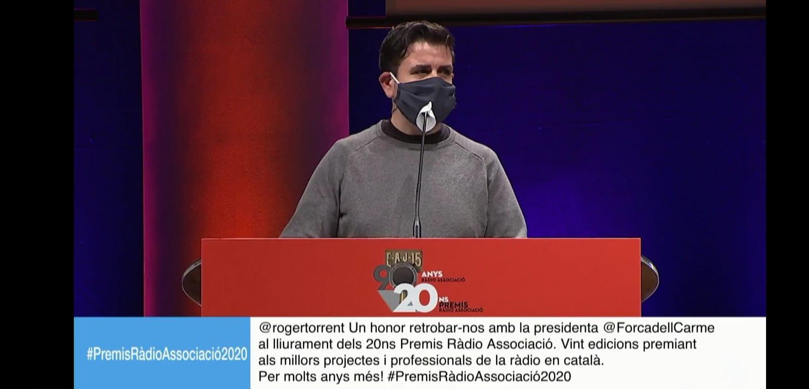 Josep Lluís Vidal a l'entrega de premis de Ràdio Associació de Catalunya.