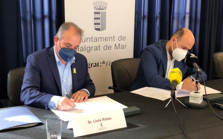 Signatura de l'acord per millorar el tram final de la riera de Sant Genís