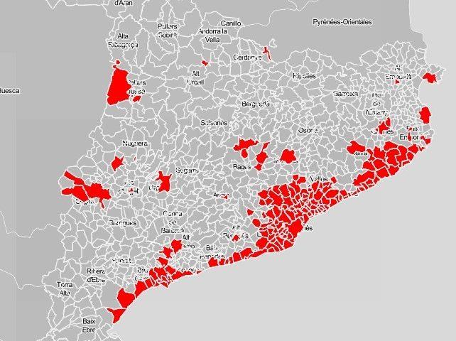 Mapa dels municipis amb toc de queda